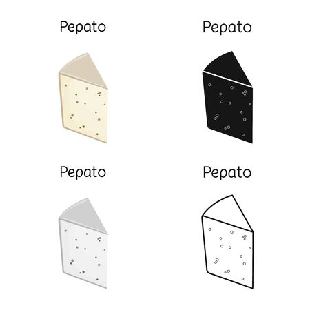 Vector illustration of cheese and pepato sign. Graphic of cheese and slice stock vector illustration.