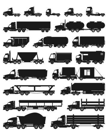 Icône de jeu noir isolé de camion. Transport de livraison d'illustration vectorielle sur fond blanc. Vector set noir icônes voiture de camion.