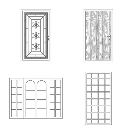 Vector illustration of door and front logo. Collection of door and wooden stock symbol for web. Çizim