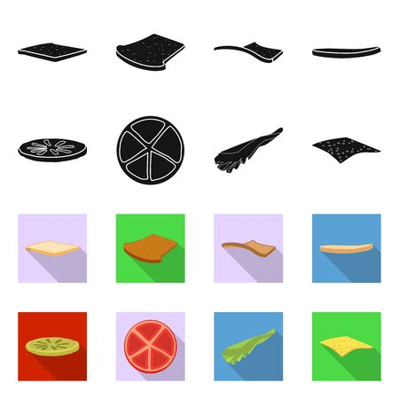 Vector design of breakfast and delicious symbol. Set of breakfast and tasty vector icon for stock.