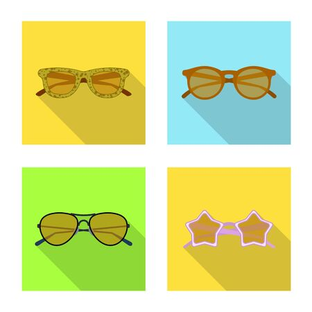 Isolated object of glasses and sunglasses icon. Set of glasses and accessory stock symbol for web.