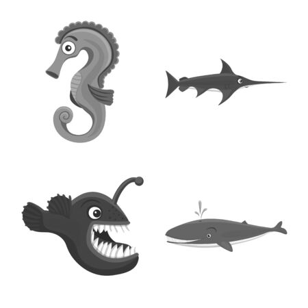 Vector design of sea and animal icon. Collection of sea and marine stock symbol for web.