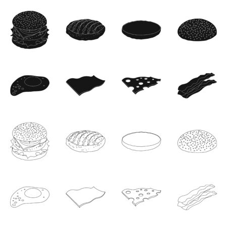 Vector illustration of burger and sandwich icon. Collection of burger and slice stock symbol for web. Foto de archivo - 138155394