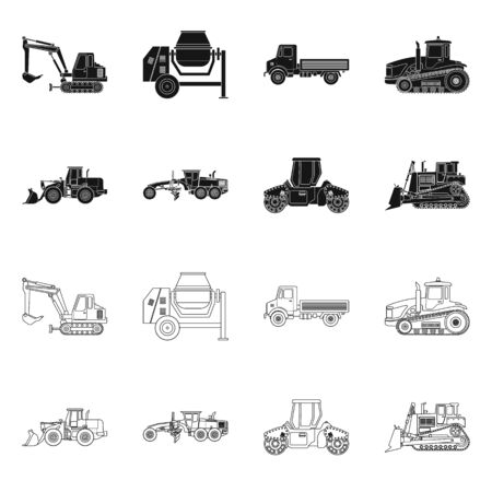 Vector illustration of build and construction icon. Set of build and machinery stock vector illustration. Çizim