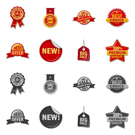 Vector design of emblem and badge icon. Set of emblem and sticker vector icon for stock. 向量圖像