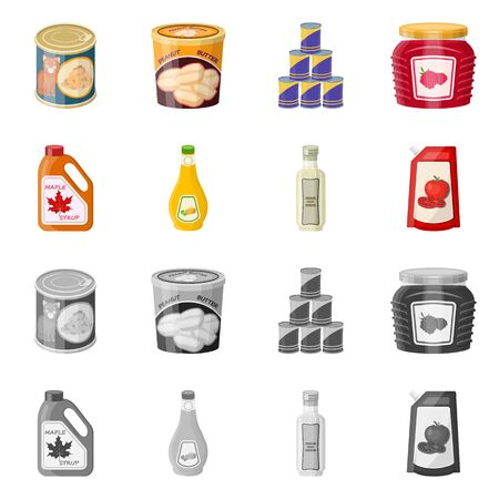Isolated object of can and food icon. Collection of can and package stock symbol for web. Çizim