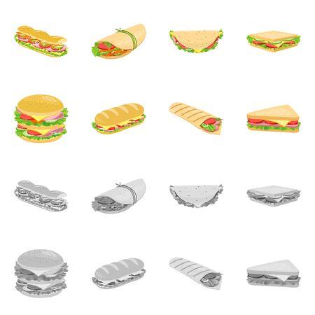 Isolated object of dinner and cuisine logo. Set of dinner and breakfast stock vector illustration. Foto de archivo - 138155411