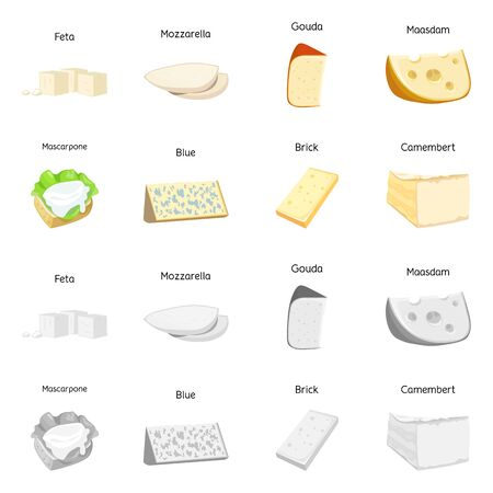 Isolated object of product and milk icon. Collection of product and snack stock symbol for web.