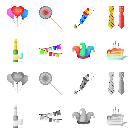 Vector design of party and birthday icon. Set of party and celebration stock vector illustration. Ilustração