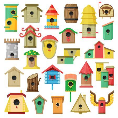 Birdhouse vector cartoon set icon.Vector illustration jardin nid sur fond blanc. Dessin animé isolé mis icônes maison d'oiseau.