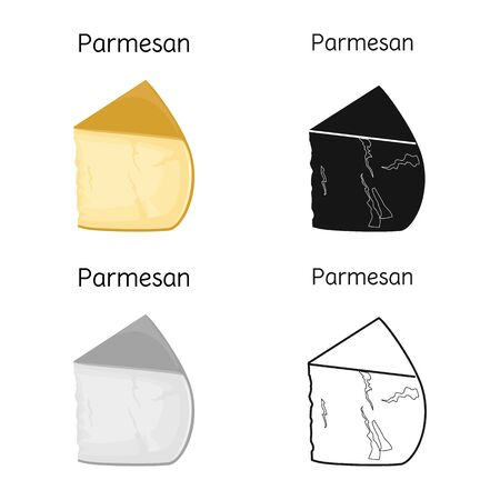 Vector illustration of cheese and parmesan sign. Web element of cheese and appetizer vector icon for stock.