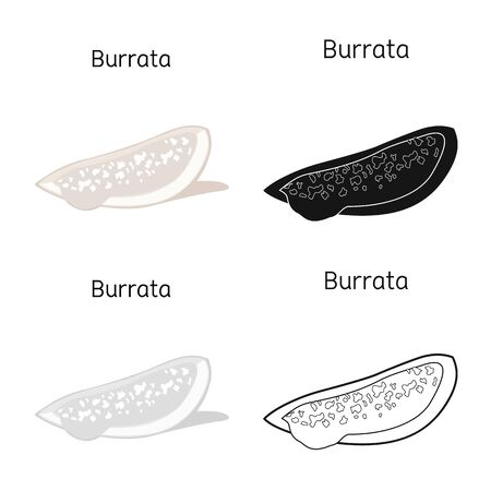Vector illustration of cheese and burrata icon. Web element of cheese and piece stock symbol for web.