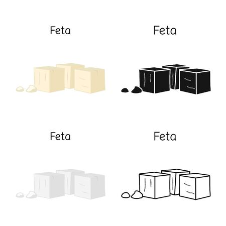 Vector design of cheese and feta sign. Web element of cheese and piece stock symbol for web. Foto de archivo - 138155424