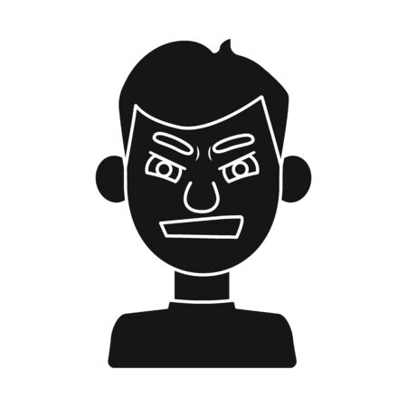 Vector illustration of guy and grimace icon. Collection of guy and hatred stock vector illustration. Çizim