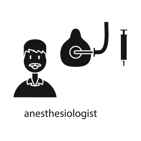 Vector design of anesthesiologist and doctor sign. Set of anesthesiologist and anesthesia vector icon for stock.
