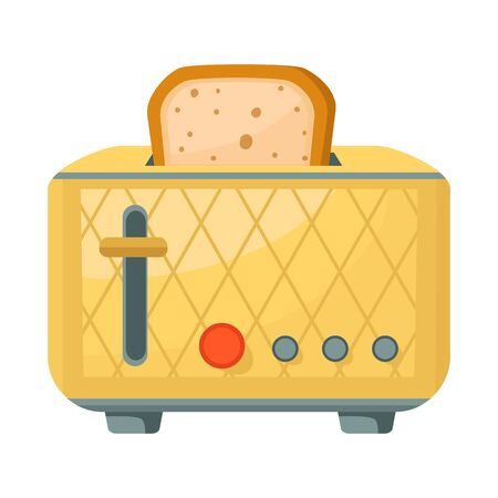 Vector illustration of toaster and bread sign. Graphic of toaster and oven stock vector illustration.