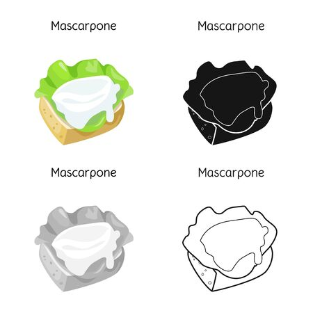 Vector illustration of mascarpone and cheese sign. Web element of mascarpone and meal stock symbol for web.