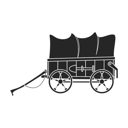 Western carriage vector icon.Black vector icon isolated on white background western carriage. Stock Illustratie