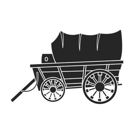 Salvaje oeste, vagón, vector, icon., Negro, vector, icono, aislado, blanco, fondo, salvaje, oeste, wagon.