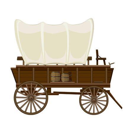 Dziki zachód wóz wektor ikona. Kreskówka wektor ikona na białym tle dziki zachód wóz.