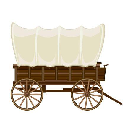 Icône de vecteur de wagon de Far west. Icône de vecteur de dessin animé isolé sur fond blanc chariot de Far west. Vecteurs