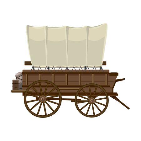 서쪽 마차 벡터 아이콘입니다. 흰색 배경에 고립 된 만화 벡터 아이콘 서쪽 마차입니다.