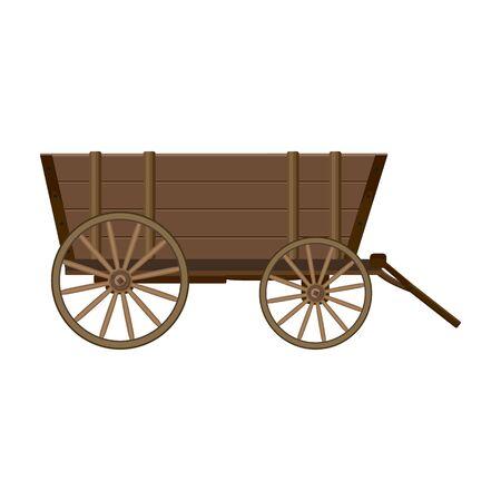 Wild-West-Wagen-Vektor-Symbol. Cartoon-Vektor-Symbol auf weißem Hintergrund Wild-West-Warenkorb isoliert.