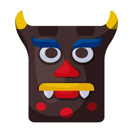 Mask of totem vector icon.Cartoon vector  isolated on white background mask of totem . Illustration