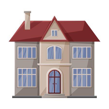 Villa dell'icona di vettore della casa. Icona di vettore del fumetto isolata su priorità bassa bianca villa della casa.