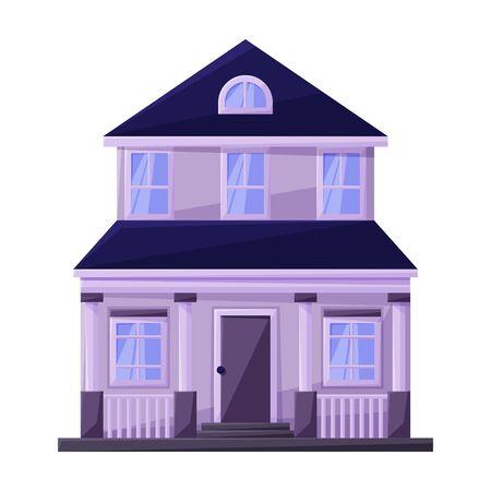 Gebäude der Wohnungsvektorikone. Karikaturvektorikone lokalisiert auf weißem Hintergrund Gebäude der Wohnung. Vektorgrafik