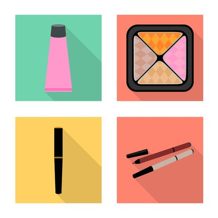 Vector design of cosmetology and makeup . Collection of cosmetology and product stock vector illustration.