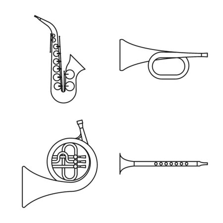 Vector illustration of woodwind and instrument symbol. Set of woodwind and play stock symbol for web.