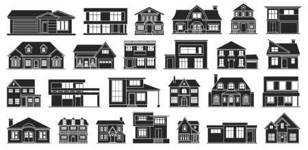 Villa of house vector black set icon.Vector illustration building of home.Isolated black set icon villa of house on white background .