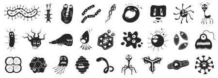 Bacteria of virus vector black set icon.Vector illustration infection germ on white background.Isolated set icon bacteria of virus. 向量圖像