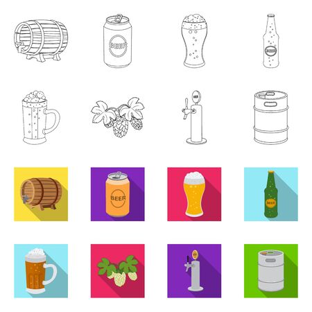 Isolated object of pub and bar . Collection of pub and interior stock vector illustration.