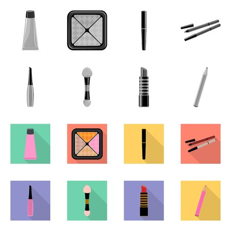 Vector illustration of makeup and product icon. Set of makeup and cosmetology stock symbol for web. Stock Illustratie