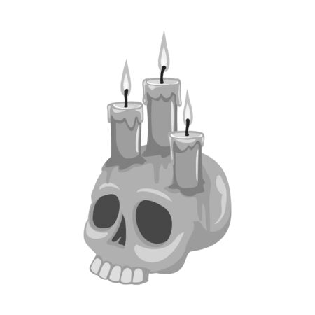 Isolated object of skull and candle . Graphic of skull and skeleton stock vector illustration. Illusztráció