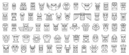 Native totem vector line set icon.Vector illustration animal mask on white background.Isolated set icon native totem. Ilustrace