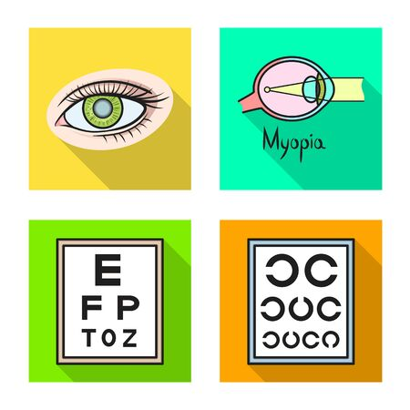 Vector design of optometry and medicine . Collection of optometry and diagnostic vector icon for stock.