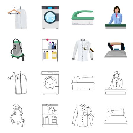 Vector design of laundry and clean . Set of laundry and clothes stock symbol for web.