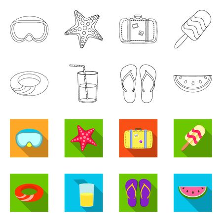 Vector design of equipment and swimming icon. Collection of equipment and activity stock symbol for web. Banque d'images - 138234674