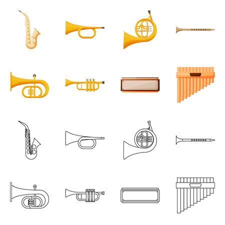 Isolated object of concert and classical icon. Collection of concert and equipment stock symbol for web.