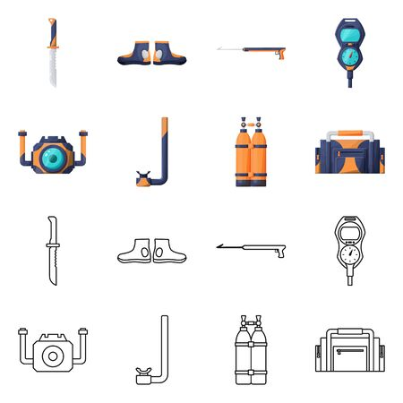 Vector design of diving and water symbol. Set of diving and scuba vector icon for stock. Banco de Imagens - 138196083