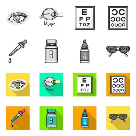 Vector design of optometry and medicine symbol. Set of optometry and diagnostic stock symbol for web. Foto de archivo - 138195586