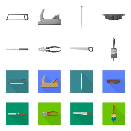 Vector design of household and repair sign. Set of household and overhaul stock symbol for web. Çizim