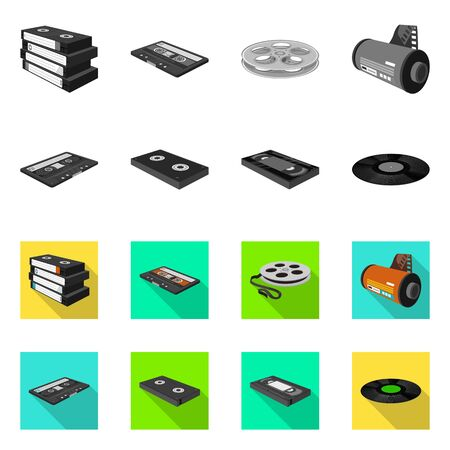 Isolated object of equipment and device icon. Set of equipment and player stock vector illustration. Illusztráció