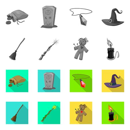 Isolated object of witchcraft and mystic sign. Collection of witchcraft and magic vector icon for stock.