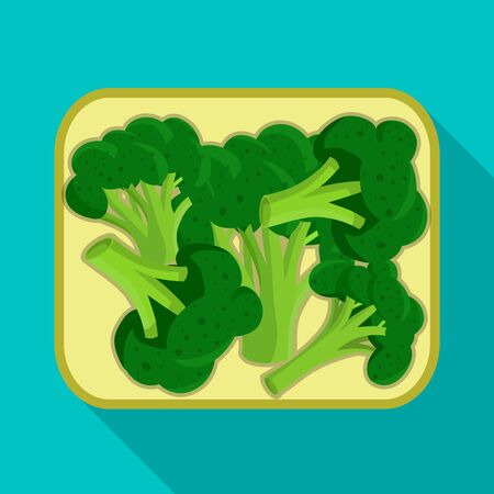 Vector illustration of broccoli and cutting icon. Collection of broccoli and board vector icon for stock. Foto de archivo - 138195814