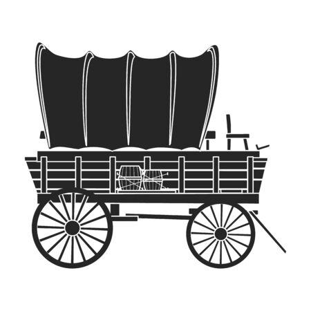 Icône de vecteur de wagon de Far west. Icône de vecteur noir isolé sur fond blanc wagon de Far west.