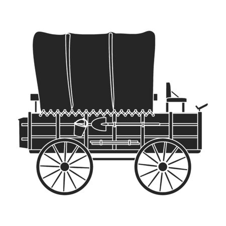 Western carriage vector icon.Black vector icon isolated on white background western carriage. 向量圖像